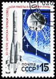 30th Anniversary of First Soviet Moon Flight, circa 1989. MOSCOW, RUSSIA - MAY 25, 2019: Postage stamp printed in Soviet Union devoted to 30th Anniversary of stock photography