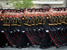 Pupils of the Moscow military Suvorov school during the dress rehearsal of the parade on Red Square in honor of the Victory Day. MOSCOW, RUSSIA MAY 6, 2018 stock photography