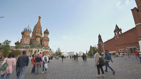 MOSCOW, RUSSIA - MAY 19, 2017: Red Square in Moscow, Russian Federation. National Landmark. Tourist Destination. Red Square in Moscow, Russian Federation stock video