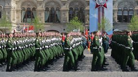 Rehearsal of parade - ceremonial March of soldiers on Red Square. MOSCOW, RUSSIA - MAY 07, 2019: Rehearsal of the Victory Day celebration WWII. Rehearsal of stock video footage