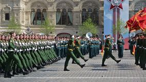 Rehearsal of parade - ceremonial March of soldiers on Red Square. MOSCOW, RUSSIA - MAY 07, 2019: Rehearsal of the Victory Day celebration WWII. Rehearsal of stock footage