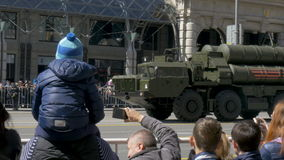 MOSCOW, RUSSIA MAY 07 2017 Rehearsal for the Victory Parade. Military equipment is moving along Tverskaya Street to Red stock footage