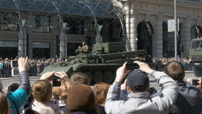 MOSCOW, RUSSIA MAY 07 2017 rehearsal for the Victory Parade. Military equipment is moving along Tverskaya Street to Red stock video footage