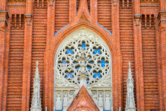 MOSCOW, RUSSIA - MAY 14, 2017: Roman Catholic Cathedral of the Immaculate Conception of the Blessed Virgin Mary in. Moscow, Part of the facade Royalty Free Stock Photography