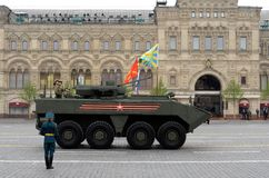 Russian armored personnel carrier `Boomerang` at a military parade in honor of Victory Day in Moscow. MOSCOW, RUSSIA - MAY 9, 2019: Russian armored personnel royalty free stock image