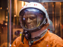 MOSCOW, RUSSIA - MAY 31, 2016: Russian astronaut spacesuit in Moscow space museum Royalty Free Stock Images