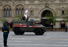 Russian multipurpose armored car `Tiger` military police at a rehearsal parade. MOSCOW, RUSSIA - MAY 6, 2018: Russian multipurpose armored car `Tiger` military Stock Photography