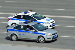 Moscow, Russia, May, 09, 2015, Russian scene: Nobody, cars of Police and Traffic police Stock Images
