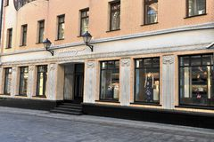 Salvatore Ferragamo flagship store. MOSCOW, RUSSIA - MAY 02: Salvatore Ferragamo flagship store, Moscow on May 2, 2018 Stock Images