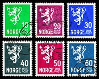 Six postage stamps from Lion type II serie, circa 1940. MOSCOW, RUSSIA - MAY 13, 2018: Six postage stamps printed in Norway from Lion type II serie, circa 1940 stock image