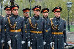 MOSCOW, RUSSIA - MAY 08, 2017: Soldiers of The Honor Guard of the 154 Preobrazhensky Regiment. Rainy and snowy view. Alexander Ga. MOSCOW, RUSSIA - MAY 08, 2017 Royalty Free Stock Photography