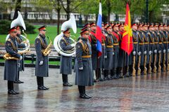 MOSCOW, RUSSIA - MAY 08, 2017: Soldiers of The Honor Guard of the 154 Preobrazhensky Regiment. Rainy and snowy view. Alexander Ga Royalty Free Stock Photos