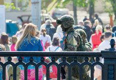 MOSCOW, RUSSIA - May 09, 2018: Soldiers of russian army special forces. Guard area of Red Square during a military parade on Victory Day and take pictures with Royalty Free Stock Image