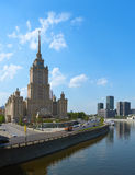 MOSCOW, RUSSIA - MAY 01: Stalin's famous skyscraper Hotel Ukrain Royalty Free Stock Image