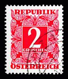Digit in square frame, Postage Due (1949-1957) serie, circa 1950. MOSCOW, RUSSIA - MAY 13, 2018: A stamp printed in Austria shows Digit in square frame royalty free stock photos
