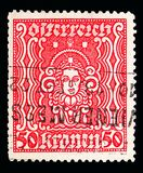 Woman\'s head, serie, circa 1922. MOSCOW, RUSSIA - MAY 15, 2018: A stamp printed in Austria shows Woman\'s head, serie, circa 1922 Stock Image