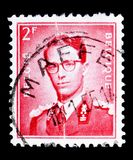 King Baudouin, serie, circa 1953. MOSCOW, RUSSIA - MAY 15, 2018: A stamp printed in Belgium shows King Baudouin, serie, circa 1953 stock image