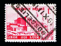 Water exhibition Liege, serie, circa 1938. MOSCOW, RUSSIA - MAY 16, 2018: A stamp printed in Belgium shows Water exhibition Liege, serie, circa 1938 stock photography