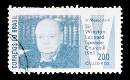 In Memoriam Sir Winston Churchill, serie, circa 1965. MOSCOW, RUSSIA - MAY 15, 2018: A stamp printed in Brazil shows In Memoriam Sir Winston Churchill, serie stock images