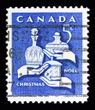 Gifts from the Wise men, Christmas serie, circa 1965. MOSCOW, RUSSIA - MAY 13, 2018: A stamp printed in Canada shows Gifts from the Wise men, Christmas serie royalty free stock photography