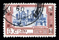 Ruins of Madirigirija, Local motives serie, circa 1958. MOSCOW, RUSSIA - MAY 13, 2018: A stamp printed in Ceylon shows Ruins of Madirigirija, Local motives serie Stock Photos