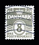 """Figure """"Wave"""" type, serie, circa 1939. MOSCOW, RUSSIA - MAY 13, 2018: A stamp printed in Denmark shows Figure """"Wave"""" type, serie, circa royalty free stock photos"""