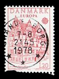 Jens Bang's House, Aalborg, Europa (C.E.P.T.) serie, circa 1978. MOSCOW, RUSSIA - MAY 15, 2018: A stamp printed in Denmark shows Jens Bang's House, Aalborg stock photos