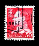 King Frederik IX, serie, circa 1965. MOSCOW, RUSSIA - MAY 13, 2018: A stamp printed in Denmark shows King Frederik IX, serie, circa 1965 Royalty Free Stock Image