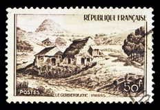 The Gerbier de Jonc (Vivarais), Tourism serie, circa 1949. MOSCOW, RUSSIA - MAY 10, 2018: A stamp printed in France shows The Gerbier de Jonc ( royalty free stock images