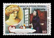 Kyveli in The secret of Countess Valeraina of Gr.Xenopoulo, Gr. MOSCOW, RUSSIA - MAY 13, 2018: A stamp printed in Greece shows Kyveli in The secret of Countess royalty free stock image