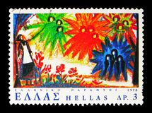 'The Twelve Months ' Fairy Tale, serie, circa 1978. MOSCOW, RUSSIA - MAY 13, 2018: A stamp printed in Greece shows 'The Twelve Months ' Fairy Tale, serie, circa royalty free stock images