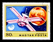 Mariner 4, Exploration of Mars serie, circa 1974. MOSCOW, RUSSIA - MAY 16, 2018: A stamp printed in Hungary shows Mariner 4, Exploration of Mars serie, circa stock photography