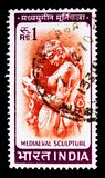 Mediaeval Sculpture, Country Motifs serie, circa 1966. MOSCOW, RUSSIA - MAY 13, 2018: A stamp printed in India shows Mediaeval Sculpture, Country Motifs serie Royalty Free Stock Image