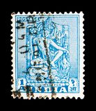Views - Bodhisattva, Monuments and Temples (1949-52) serie, circa 1950. MOSCOW, RUSSIA - MAY 13, 2018: A stamp printed in India shows Views - Bodhisattva royalty free stock photos