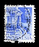 Entrance to Tjandi-Poentadewa Temple, Buildings serie, circa 1949. MOSCOW, RUSSIA - MAY 15, 2018: A stamp printed in Indonesia shows Entrance to Tjandi stock photo