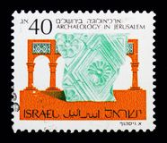 RELIEF - Second Temple, 1st Century B.C.E., Archaeology In Jerusalem serie, circa 1988. MOSCOW, RUSSIA - MAY 10, 2018: A stamp printed in Israel shows RELIEF royalty free illustration