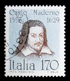 Carlo Maderno, Famous Italians serie, circa 1979. MOSCOW, RUSSIA - MAY 10, 2018: A stamp printed in Italy shows Carlo Maderno, Famous Italians serie, circa 1979 vector illustration
