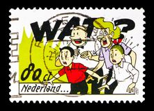 Suske and Wiske, Lambic and Aunt Sidonia, Comics serie, circa 19. MOSCOW, RUSSIA - MAY 13, 2018: A stamp printed in Netherlands shows Suske and Wiske, Lambic and Stock Image