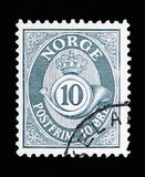 Post horn, serie, circa 1950. MOSCOW, RUSSIA - MAY 13, 2018: A stamp printed in Norway shows Post horn, 10 Ore due, serie, circa 1950 royalty free stock photography