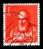 Canonization of Juan de Ribera, Sainthood serie, circa 1960. MOSCOW, RUSSIA - MAY 10, 2018: A stamp printed in Spain devoted to Canonization of Juan de Ribera stock image