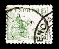 The Cid, serie, circa 1940. MOSCOW, RUSSIA - MAY 15, 2018: A stamp printed in Spain shows The Cid, Digit and Cid serie, circa 1940 royalty free stock images