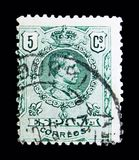 King Alfonso XIII, serie, circa 1910. MOSCOW, RUSSIA - MAY 10, 2018: A stamp printed in Spain shows King Alfonso XIII, serie, circa 1910 royalty free stock photos