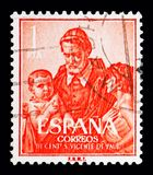 Saint Vincent de Paul (1581-1660), Sainthood serie, circa 1960. MOSCOW, RUSSIA - MAY 10, 2018: A stamp printed in Spain shows Saint Vincent de Paul (1581-1660) stock photos