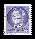 King Carl XVI Gustaf, serie, circa 1983. MOSCOW, RUSSIA - MAY 10, 2018: A stamp printed in Sweden shows King Carl XVI Gustaf, serie, circa 1983 Stock Image
