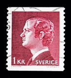 King Carl XVI Gustaf, serie, circa 1974. MOSCOW, RUSSIA - MAY 10, 2018: A stamp printed in Sweden shows King Carl XVI Gustaf, serie, circa 1974 Royalty Free Stock Image