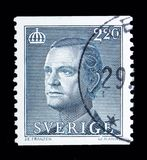 King Carl XVI Gustaf, serie, circa 1988. MOSCOW, RUSSIA - MAY 10, 2018: A stamp printed in Sweden shows King Carl XVI Gustaf, serie, circa 1988 Royalty Free Stock Photography