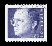 King Carl XVI Gustaf, serie, circa 1991. MOSCOW, RUSSIA - MAY 10, 2018: A stamp printed in Sweden shows King Carl XVI Gustaf, serie, circa 1991 Stock Photos