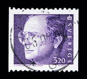 King Carl XVI Gustaf, serie, circa 1994. MOSCOW, RUSSIA - MAY 10, 2018: A stamp printed in Sweden shows King Carl XVI Gustaf, serie, circa 1994 Royalty Free Stock Photo
