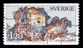 'The Mail Coach ' by E. Schwab, Definitives serie, circa 1971. MOSCOW, RUSSIA - MAY 10, 2018: A stamp printed in Sweden shows 'The Mail Coach ' by E. Schwab stock illustration