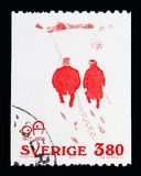'Politeness ' (cartoon by Oskar Andersson 1905), serie, circa 197. MOSCOW, RUSSIA - MAY 10, 2018: A stamp printed in Sweden shows 'Politeness ' (cartoon by Oskar royalty free illustration